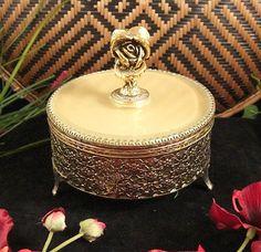 Matson Ormolu Dresser Jar, Powder Box, Jewelry Casket / ROSES Pattern on Etsy, Sold