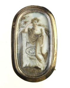 Georgian era watercolor on ivory w/hair mourning brooch