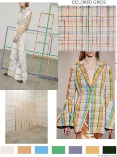 """SOURCE: Rosetta Getty Pre Fall 2019 and Loewe Fall A nne-sophie-tschiegg: """" Spencer Finch - untitled 2012 """" and grid panels fo. Trend Fabrics, Fall Plaid, Spring Fashion Trends, Fashion Colours, Color Trends, Vignettes, Womens Fashion, Fashion Edgy, Fasion"""