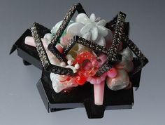 Helen Britton - 'Diamond Pink' Brooch, 2010.   Plastic, diamonds, sterling silver, spraypaint