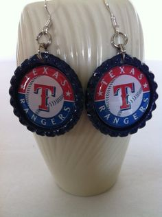 Texas Rangers Inspired Baseball Earrings Rangers Jewelry Made with Blue Flattened Bottle Caps Baseball Jewelry MLB by HochePotBoutique on Etsy