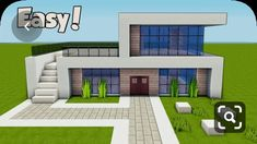 Minecraft: How To Build A Small & Easy Modern House Tutorial ( - Minecraft Servers Web - MSW - Channel Minecraft Villa, Minecraft World, Modern Minecraft Houses, Minecraft Houses For Girls, Minecraft Houses Survival, Minecraft House Tutorials, Minecraft Houses Blueprints, Minecraft Plans, Minecraft House Designs