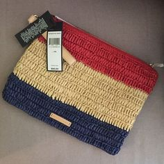 Basket weave wristlet - Brand new Basket wave wristlet - blue red and mellow yellow / brand new with tags BCBG Bags Clutches & Wristlets