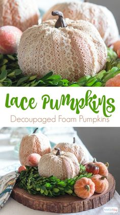 Use crochet lace ribbon and decoupage glue to transform inexpensive foam pumpkins into stunning seasonal decor for fall. : Use crochet lace ribbon and decoupage glue to transform inexpensive foam pumpkins into stunning seasonal decor for fall. Pumpkin Crafts, Fall Crafts, Halloween Crafts, Halloween Ideas, Halloween Party, Autumn Decorating, Pumpkin Decorating, Decorating Ideas, Diy Craft Projects