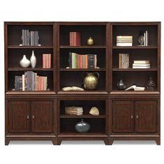Medina Wall Bookcase W/ Two Cabinets | Value City Furniture