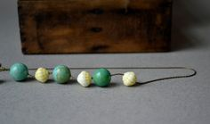 Clearance. Vintage Yellow Glass and Turquoise by cherryonion, $12.00