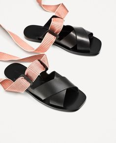 ZARA Leather Sandals with 2 strap option Leather Sandals, Shoes Sandals, Zara Shoes, Beautiful Shoes, Summer Shoes, Athleisure, Designer Shoes, Me Too Shoes, Fashion Shoes