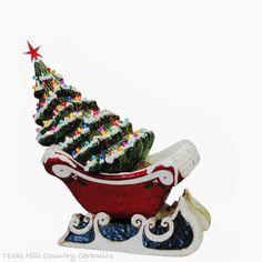 Red Sleigh Center Piece Lighted Ceramic Christmas by TexasCeramics