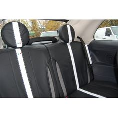 MICROCAR M8 Front PAIR of Beige//Black LEATHER LOOK Car Seat Covers