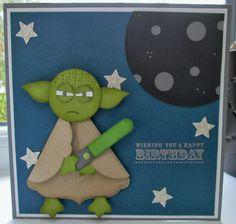 Star Wars Yoda Happy Birthday Wishes Yoda Happy Birthday, Kids Birthday Cards, Happy Birthday Wishes, Paper Punch Art, Punch Art Cards, Boy Cards, Kids Cards, Yoda Card, Star Wars Party