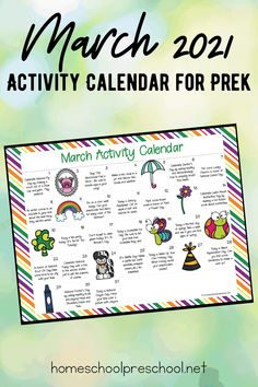 March Activity Calendar for Preschoolers