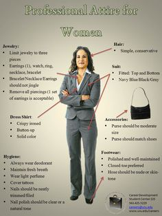 Professional interview attire for women.