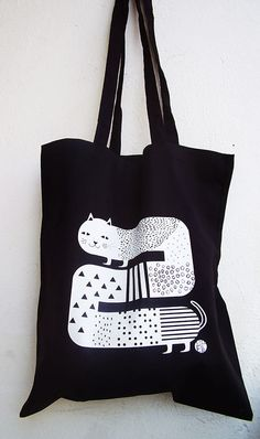 Cat tote bag by schalleszter on Etsy, $12.00
