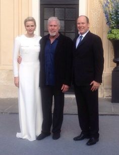 Prince Albert and Princess Charlene of Monaco with actor Ron Perlman at the Monaco TV and Film Festival, 2015