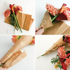 Spread Some Surprise Love - How to Wrap A Mini-Bouquet of Thanks DIY - Flax & Twine