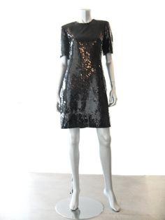CH by Carolina Herrera 80s Black Sequin Short Sleeve Cocktail Dress