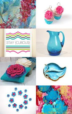--Pinned with TreasuryPin.com  lovely teal turquoise and pink items :)