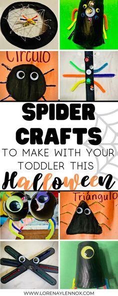 Spider crafts to make with your children this Halloween. #halloween #spidercrafts #halloweencrafts #easycrafts #toddlercrafts #preschoolcrafts