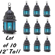 10 Large Blue Glass Candle Lanterns Peacock Wedding Indoor/Outdoor Centerpiece