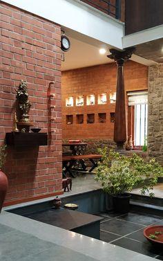 Indian Home Design, Kerala House Design, Home Garden Design, Indian Home Interior, Home Room Design, Home Interior Design, Brick Interior, Brick House Designs, Brick Design