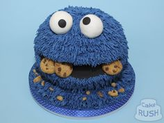 """"""" Let's begin 2018 with this fun we made of the loveable Cookie Monster. All of his fur was piped in blue icing, and in his mouth are miniature cookies. Blue Icing, Cookie Monster, Crochet Hats, Miniatures, Fur, Cookies, Cake, Birthday, Knitting Hats"""