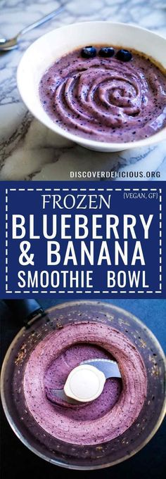 Simple 3-ingredient Blueberry & Banana Smoothie Bowl! #glutenfree #recipe #vegan #vegan #berry #breakfast #easy #healthy #dairy #free #gluten
