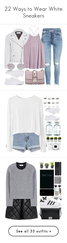 """22 Ways to Wear White Sneakers"" by polyvore-editorial ❤ liked on Polyvore featuring whitesneakers, waystowear, Acne Studios, H&M, Valentino, Vans, Kyme, white, Pink and purple"