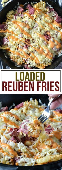 These Loaded Reuben Fries are loaded with chopped corned beef and sauerkraut topped with melted swiss cheese and drizzled with creamy Russian dressing. (Meat And Cheese Plate) Potato Dishes, Potato Recipes, Food Dishes, Side Dishes, Main Dishes, Frozen Waffles, Corned Beef Recipes, Good Food, Yummy Food