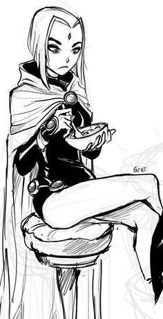 Raven eating her breakfast