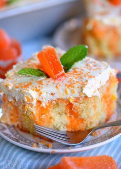 This easy Orange Creamsicle Poke Cake is a wonderful addition to all your summer parties! A lovely vanilla cake that is bursting with orange flavor and topped with a fluffy orange and vanilla frosting that no one will be able to resist! // Mom On Timeout Halloween Desserts, Poke Cakes, Cupcake Cakes, Bundt Cakes, Carrot Cakes, Layer Cakes, Orange Creamsicle Cake Recipe, Orange Juice Cake, Just Desserts