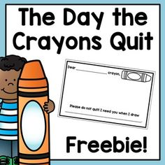 The Day the Crayons Quit Mini Response - Free Procedural Writing, Teaching Writing, Writing Activities, Letter Writing, Crayon Book, Crayon Art, Preschool Journals, Kindergarten Literacy, Preschool Class