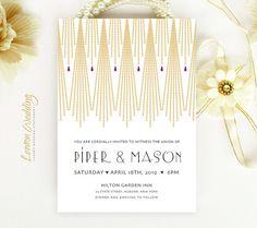 Gold Art Deco Wedding Invitation printed | String lights wedding invitations personalized | Gatsby wedding invitation