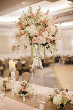 Tall Pink and Ivory Centerpiece | photography by http://www.carrettophoto.com/