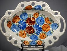 Large Hand Painted Reticulated Floral Platter Made In Poland