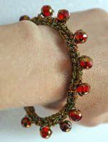 Red and Gold Beaded Metallic Crochet Bracelet