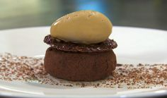 Marcus Wareing warm chocolate custard with caramel ice cream recipe test the fifth group of chefs on Masterchef The Professionals 2014