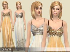 Golden dresses by Birba32 at TSR via Sims 4 Updates