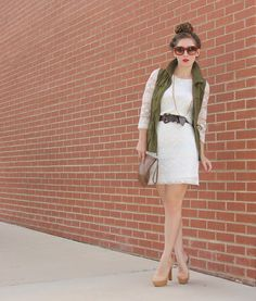 Megan of TF Diaries going high contrast with her LT Lace Shift and khaki vest.