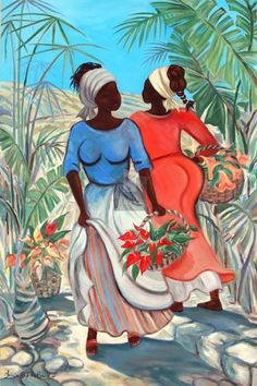 Caribbean Art by Janice Brock Art And Illustration, Arte Black, African American Artwork, African Paintings, Caribbean Art, Art Africain, Africa Art, Black Artwork, Tropical Art