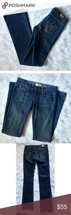 "PAIGE Premium Denim Jeans EUC PAIGE premium denim jeans in the style ""Cloverdale"". Faux snake skin on the back pockets. Back pockets feature button closure. Measures: Length 41.5"" -- Waist 14.5"" -- F. Rise 7.5"" -- B. Rise 11"" -- Hips 17"" -- Inseam 33"" -- PAIGE Jeans"