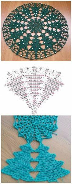 Crochet a Christmas Tree doily. Advanced crochet pattern - diagram only, no wri., a Christmas Tree doily. Advanced crochet pattern - diagram only, no wri. Crochet Christmas Ornaments, Christmas Crochet Patterns, Holiday Crochet, Crochet Doily Diagram, Crochet Doily Patterns, Thread Crochet, Crochet Ideas, Knitting Patterns, Crochet Dollies