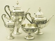 'Victorian Tea Set For Sale' An exceptional antique Victorian English sterling silver four piece tea and coffee service / set.