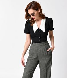 Hell Bunny 1940s Black & Ivory Collar Button Up Olsen Blouse
