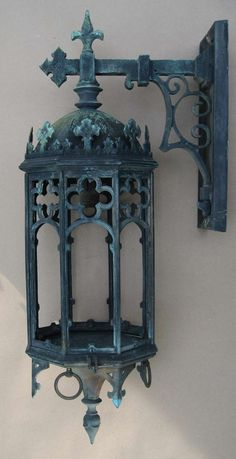 Large Antique Bronze Gothic Revival Lantern
