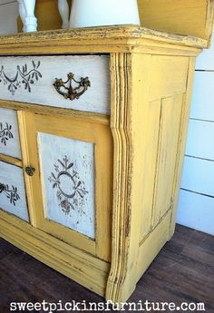 Yellow painting Furniture - Antique Washstand Before & After Yellow Painted Furniture, Painting Wooden Furniture, Painted Bedroom Furniture, Repurposed Furniture, Shabby Chic Furniture, Rustic Furniture, Antique Furniture, Home Furniture, Modern Furniture
