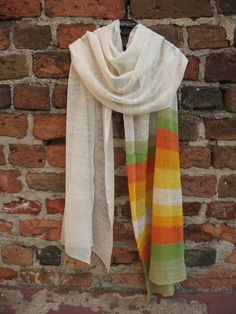 Linen White Scarf Shawl Wrap Stole Multicolored, Light, Transparent. . .