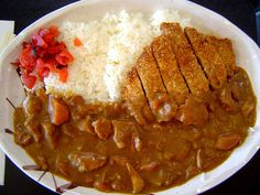 Oooh I love me some curry. There was a lot more meat in this than I thought there would be as in addition to the pork there's meat in the curry sauce. Japanese Curry, Japanese Food, Le Curry, Curry Rice, Yummy Eats, Yummy Food, Tasty, Katsu Curry Recipes, Chicken Katsu Curry