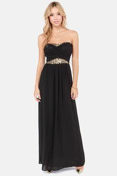 Sexy Black Dress - Sequin Dress - Maxi Dress - Strapless Dress - $63.00