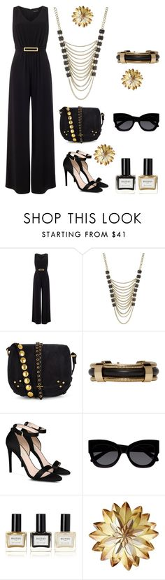"""""""black and gold"""" by im-karla-with-a-k ❤ liked on Polyvore featuring Phase Eight, Lane Bryant, Jérôme Dreyfuss, Isabel Marant, STELLA McCARTNEY, Karen Walker and Balmain"""