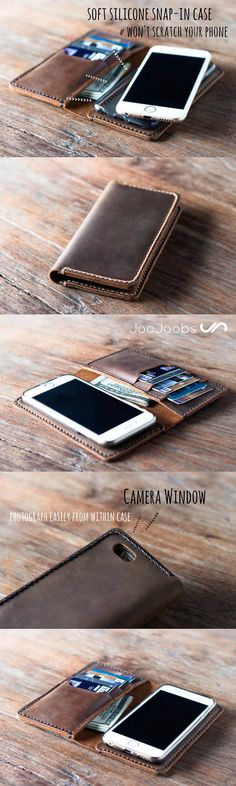 This iPhone wallet case is handmade by the JooJoobs craftsmen. Its made from full grain distressed leather. Its the perfect compliment to your iPhone keeping it safe and well protected. Comes for most iPhone and Samsung smartphones.